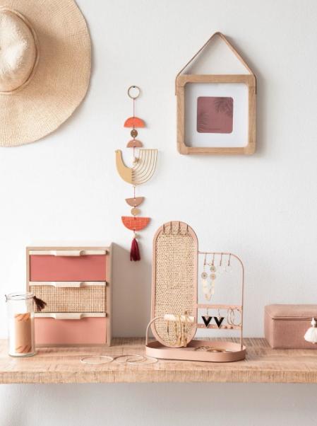Mueble De Almacenaje Con 3 Cajones Color Rosa Azuki