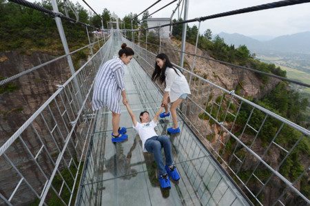 Worlds Longest Glass Bridge Shiniuzhai Geopark China 06