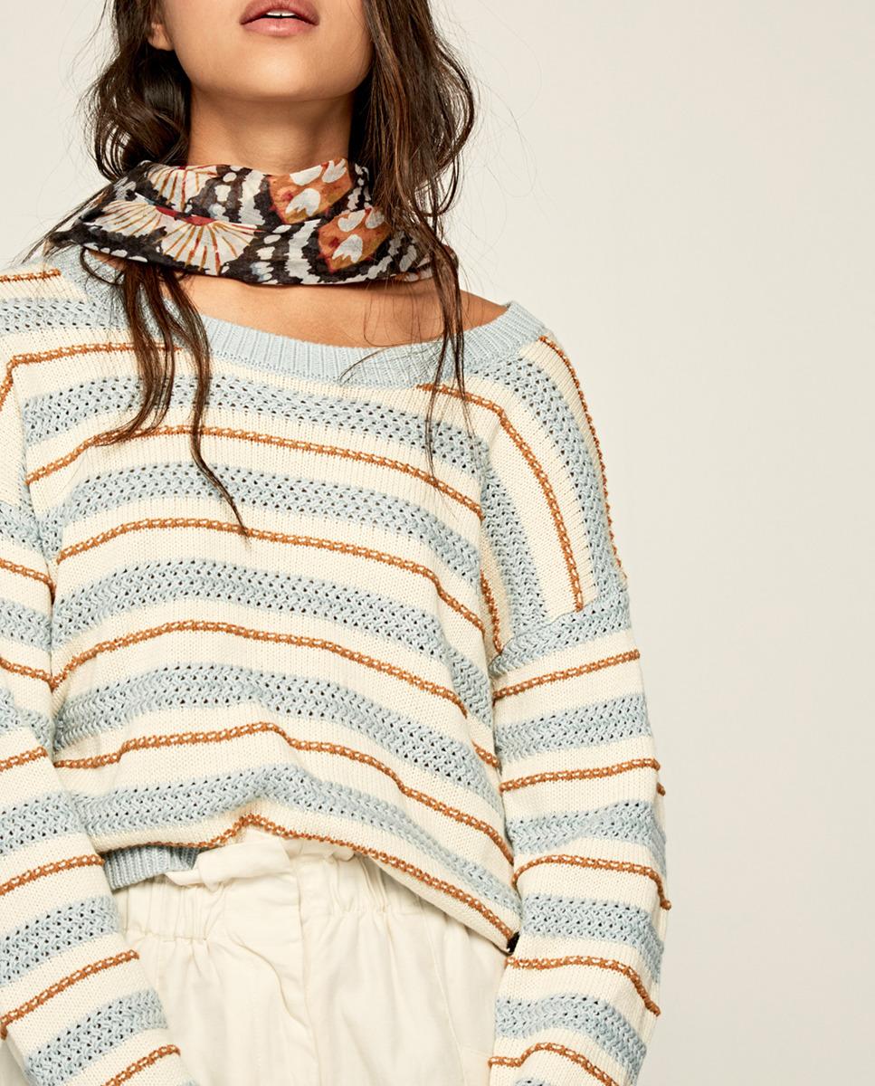 Pepe Jeans Jersey de mujer calado de rayas con detalle en crochet