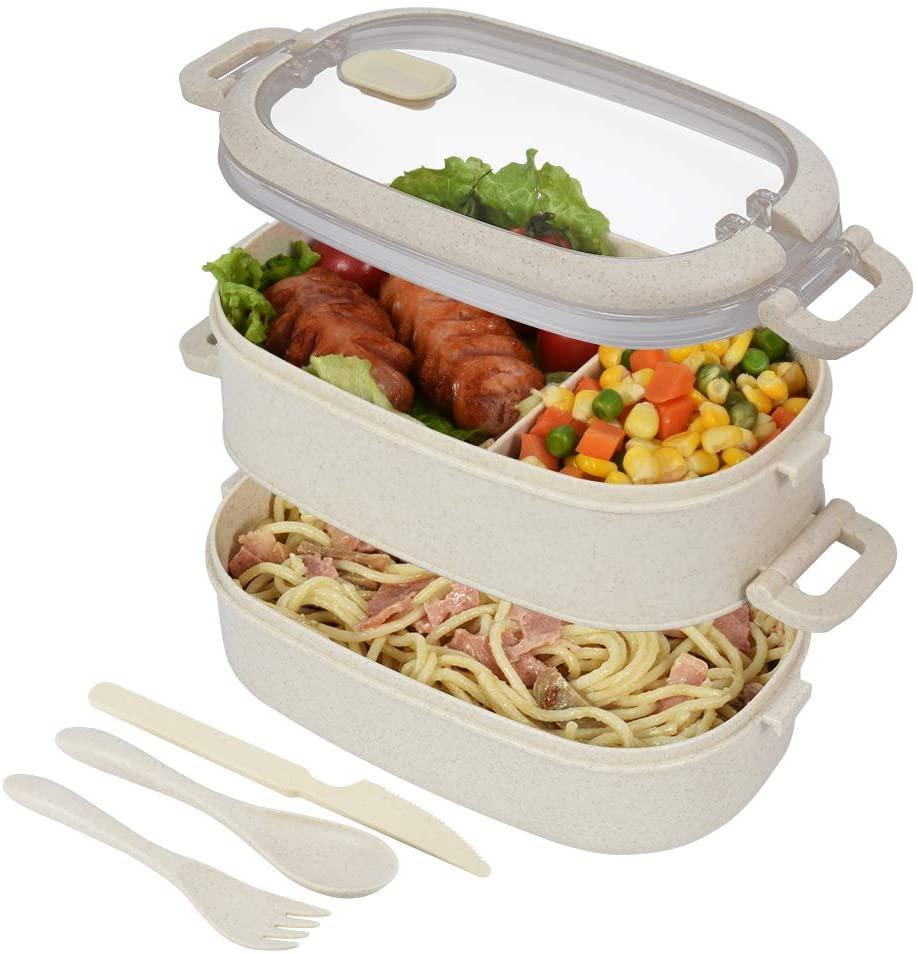 hombrima Caja de almuerzo para niños, contenedor de 2 capas con 3 compartimentos de 3 compartimentos para niños y adultos, escuela de trabajo, adecuado para microondas lavavajillas (trigo)