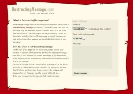 DestructingMessage, envío de mensajes anónimos y autodestructivos