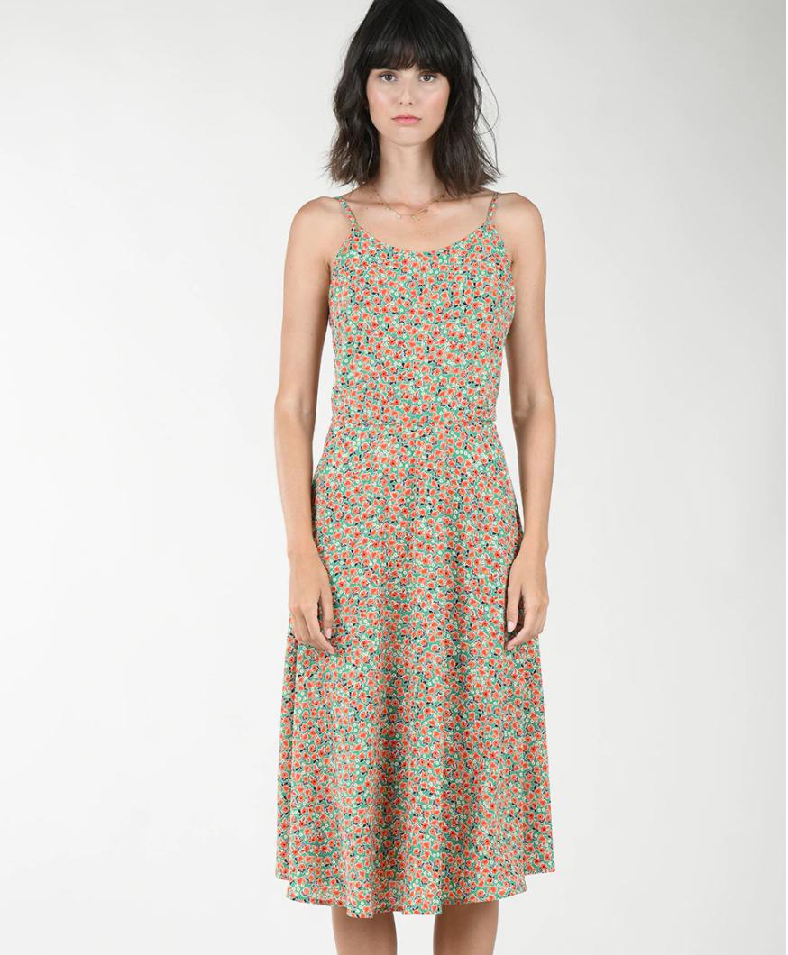 Vestido de tirantes con estampado floral