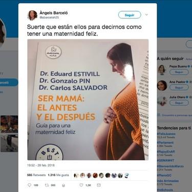 Angels Barceló enciende las redes por un libro en el que tres hombres dan consejos para una maternidad feliz