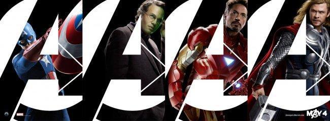 Cartel con la imagen de cuatro de los protagonistas de 'Los vengadores'