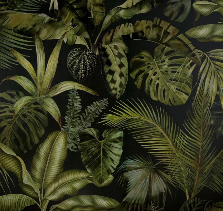 GREEN ADDICT - Papel pintado tejido con estampado vegetal 288x350