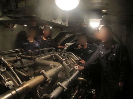 The Ship Engineers Working Engine