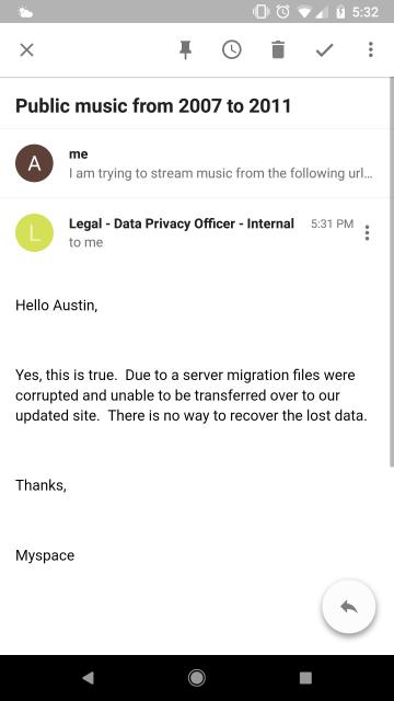 E-mail remitido por la compañía a un usuario.