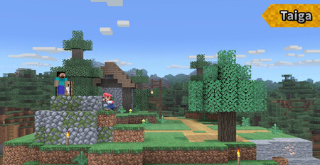 Super Smash Bros Ultimate Escenario Minecraft 04