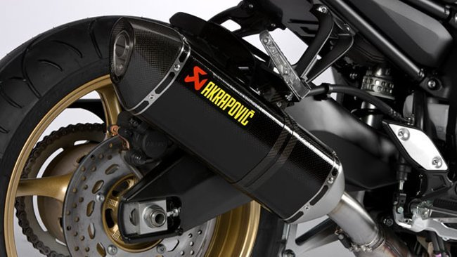 Detalle del escape Slip-on de Akrapovic