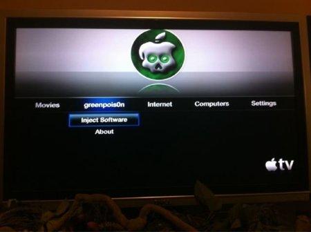 Primera imagen del AppleTV con Greenpois0n instalado