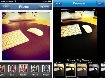 instagram picplz interfaz iphone filtros