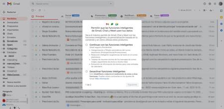 Cómo responder al aviso de Gmail sobre la activación de 'funciones inteligentes'