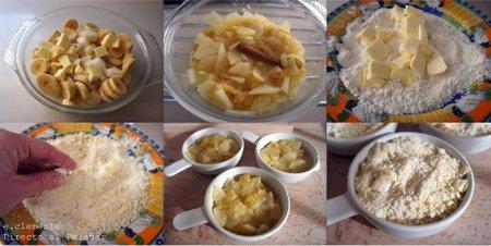Paso a paso crumble de pera y plátano