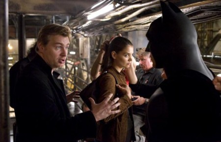 Nolan en el set de Batman Begins