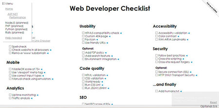 Listas de procedimientos para desarrolladores Web