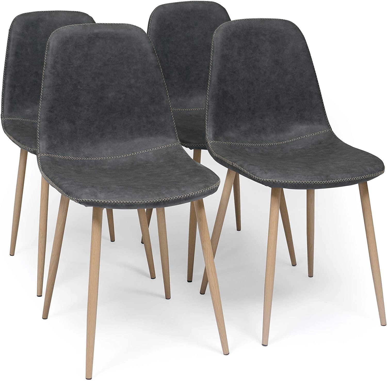 Homely - Pack de 4 sillas de Comedor Cairo Antique tapizadas en Polipiel y Patas de Metal símil Madera (MY-6 Gris)
