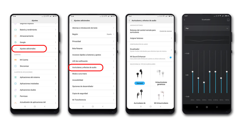 Xiaomi Mi Mix 2 Ajustes Audio