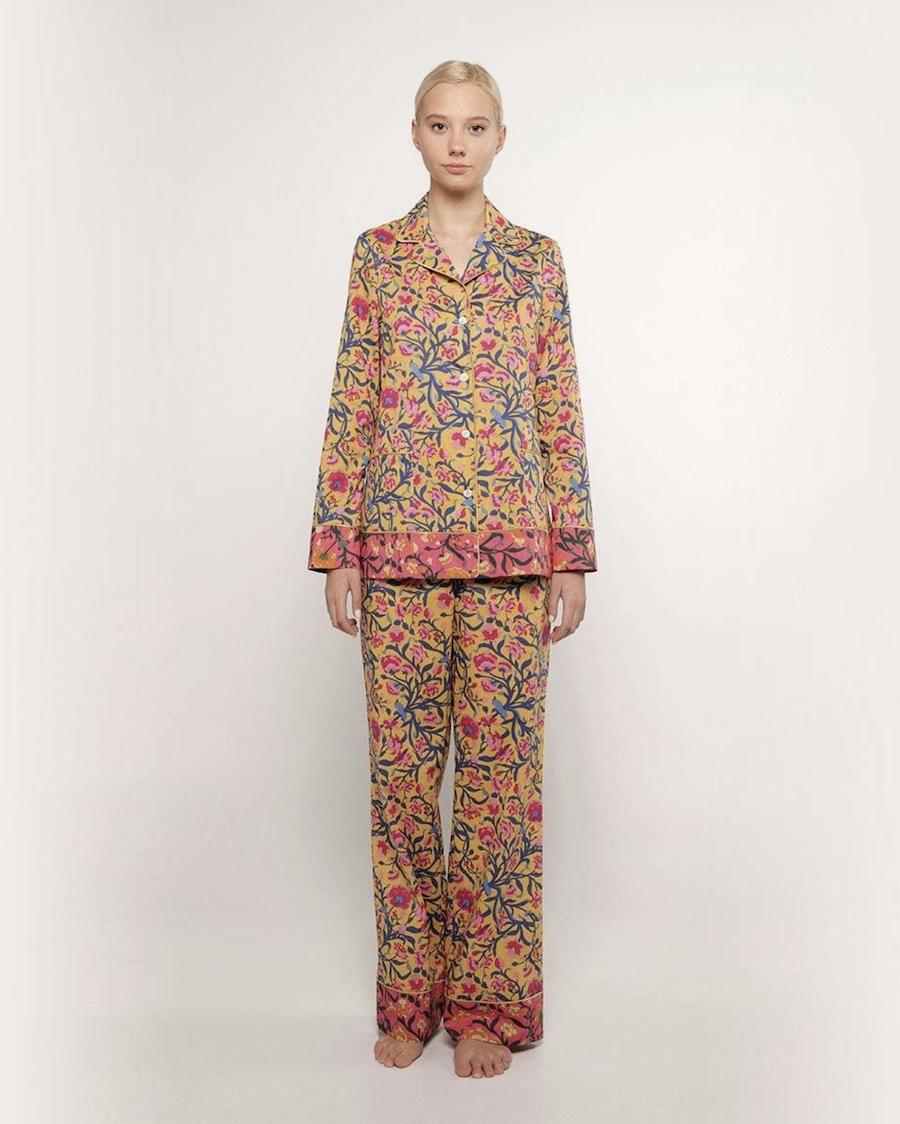Pijama de mujer estampado 100% algodón de manga larga