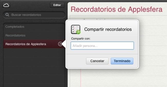 recordatorios icloud compartidos apple
