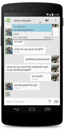 Android 4.4 KitKat google hangouts