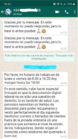 Captura de pantalla de una conversación de WhatsApp.