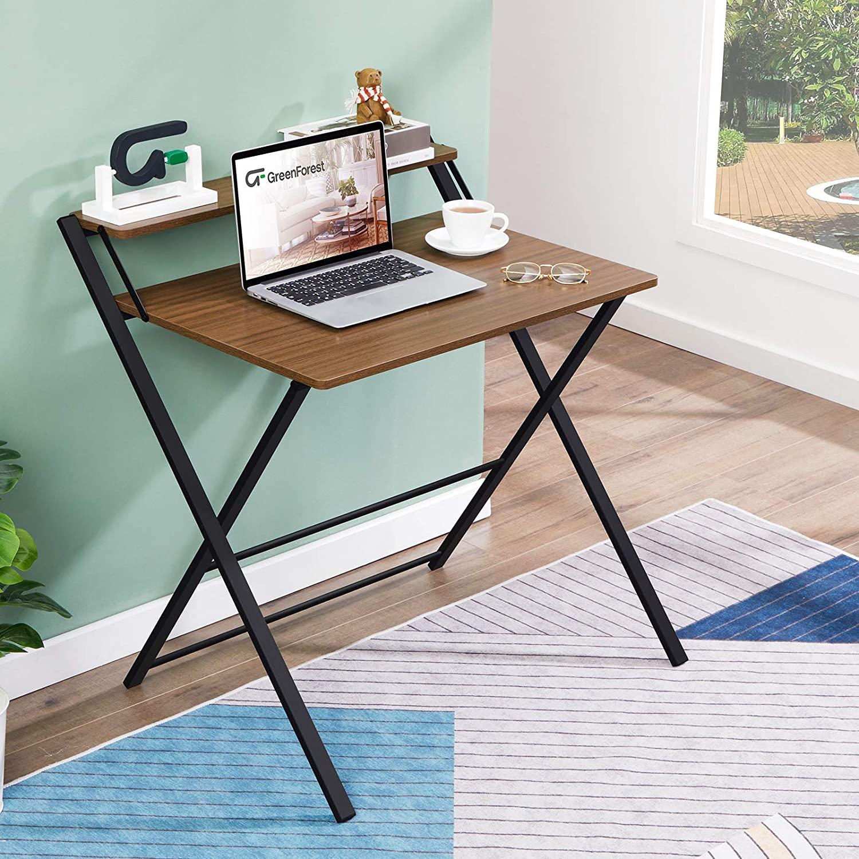 GreenForest - Escritorio Plegable para Computadora, 2 Niveles Con estante, Mesa para Computadora Portátil, sin Necesidad de Ensamblaje, Espresso
