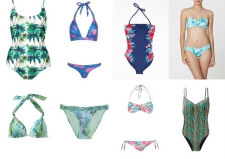 bikinis y bañadores tropicales