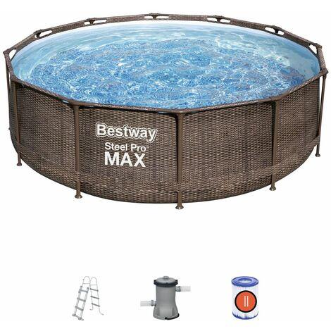 Piscina Desmontable Tubular Bestway Steel Pro Max Diseño Ratán 366x100 cm con Depuradora Cartucho 2.006 L/H con Escalera