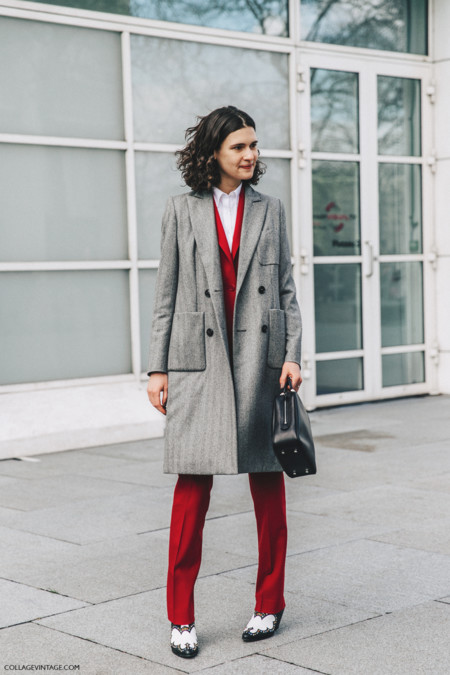 Pfw Paris Fashion Week Fall 2016 Street Style Collage Vintage Red Grey Coat 1