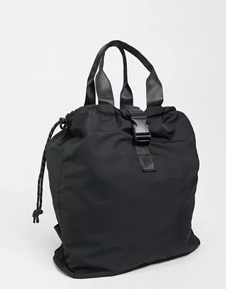 Mochila negra con cordones ajustables en contraste de ASOS DESIGN