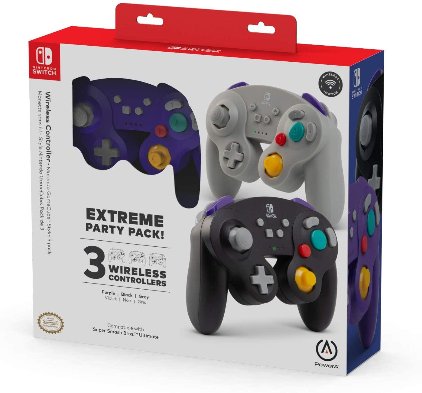 Paquete con tres controles inalámbricos de Game Cube para Nintendo Switch.