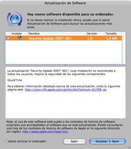 Nueva actualización de seguridad 2007-001