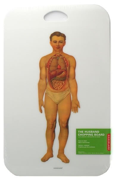 Tabla de cortar con lección de anatomía