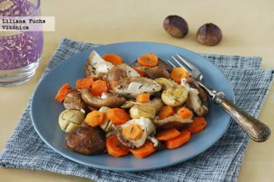 Salteado de setas con zanahorias y castañas. Receta saludable