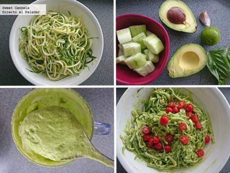 Preparacion espaghetti calabacitas