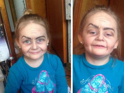 Después de maquillarla la gente no sabía si era una viejecita pintada de niña o una niña pintada de viejecita