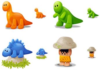 Dino Icons, iconos de dinosaurios y cavernícolas