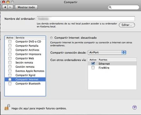 Macbook - Compartir conexión