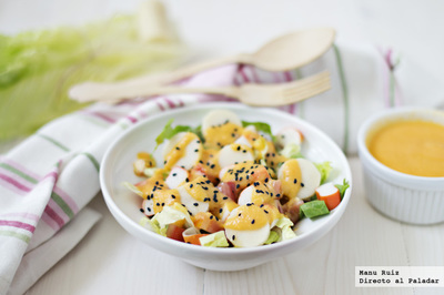Ensalada de palmito, surimi y vinagreta de papaya. Receta