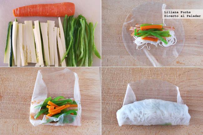 Rollitos de arroz rellenos de pavo, fideos y verduras. Pasos