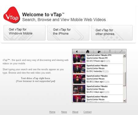 Vídeos para el móvil con Vtap