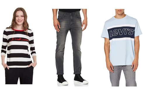 Chollos en tallas sueltas de pantalones, camisetas y sudaderas de marcas como Levi's, Lee o Desigual por menos de 30 euros en Amazon