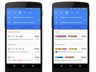 Google Maps ahora mostrará información del transporte público en tiempo real
