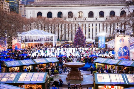 Winter Village En Bryant Park En Nueva York Estados Unidos