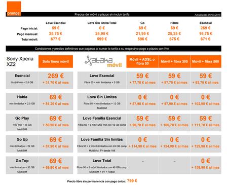Precios Sony Xperia Xz2 Con Tarifas Orange