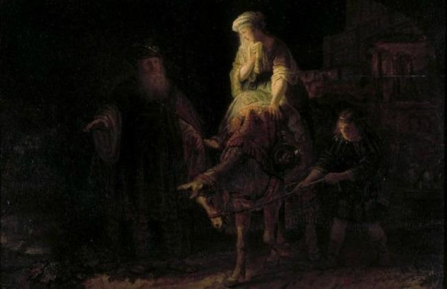 Abraham despidiendo a Agar y a Ismael. Rembrant