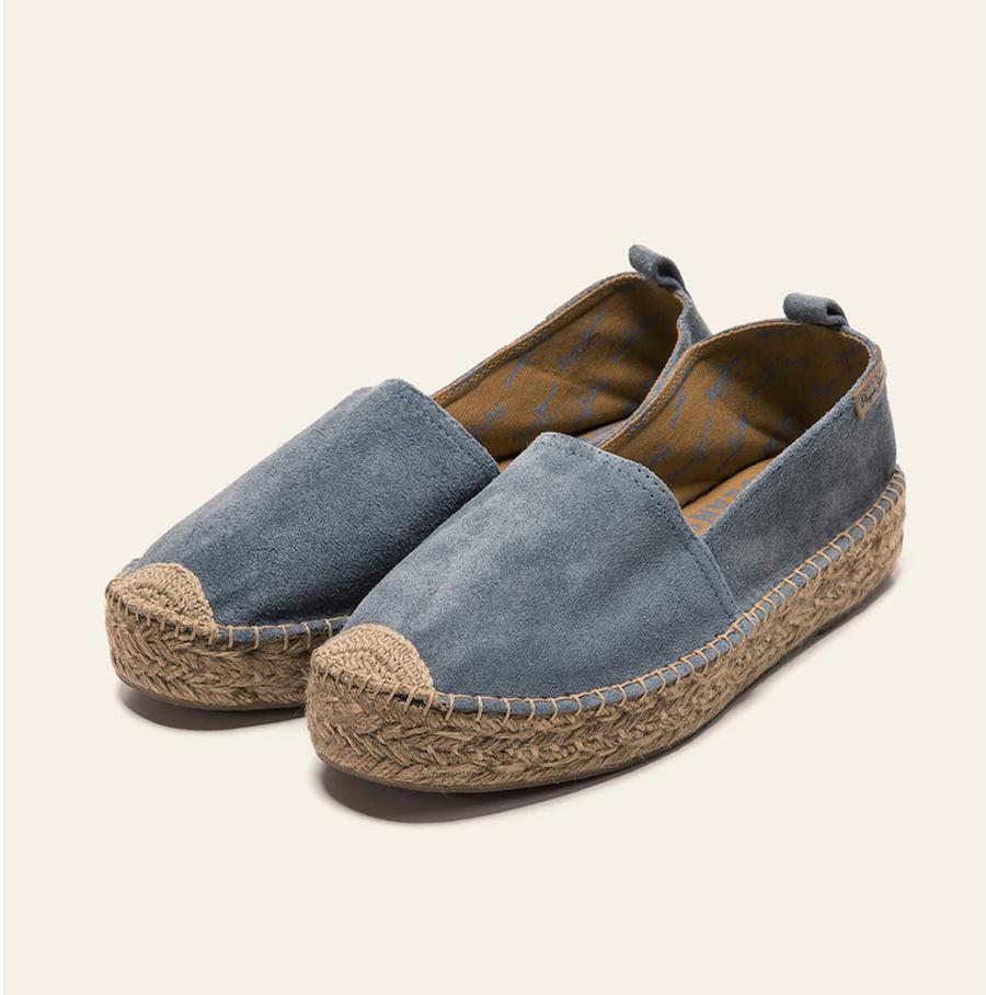 Alpargatas planas de mujer Pepe Jeans de ante en color azul