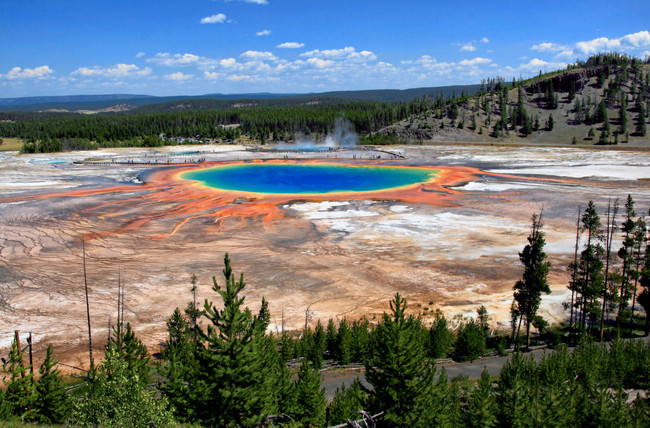 Grand Prismatic Spring And Midway Geyser Basin From Above