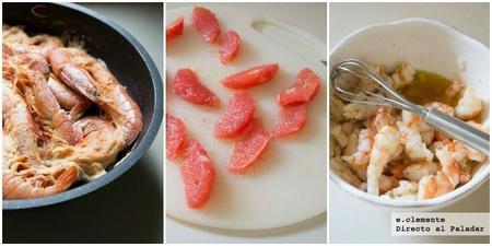 Ensalada de langostinos, pomelo y aguacate