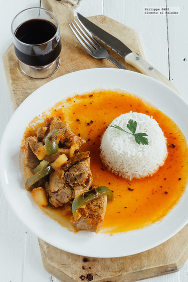 Lomo de cerdo con piña y pimiento en salsa de chile pasilla. Receta